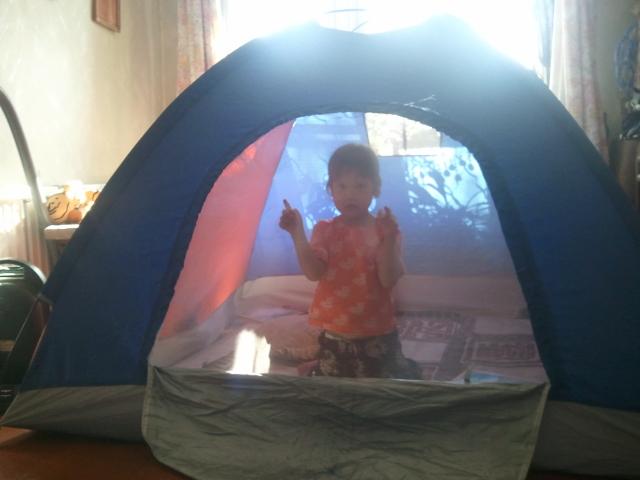 Софья в палатке