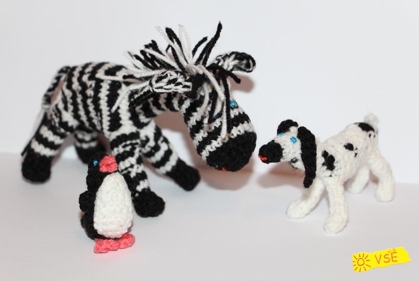 зебра, собачка, пингвинчик