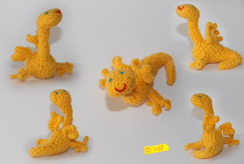 Дракончик жёлтый, связанный крючком