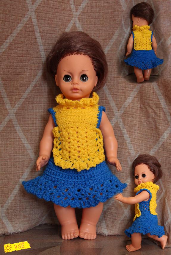 Платье для куклы Катюши, связанное крючком