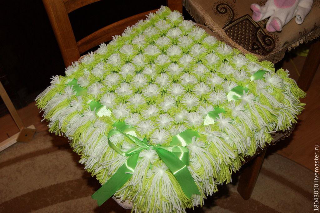 Большое одеяло из помпонов своими руками 44