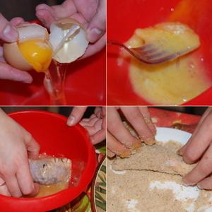 Для этого в отдельной посуде взбиваем яйцо, добавляем соль и перец.  Обмакиваем в яйце нафаршированные ножки...