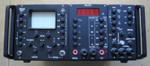 Ф4372, осциллограф, Состоит из трех блоков генератора ЧМ 300 Гц - 12 Мгц : осциллографа 10 Мгц, мультиметра 100 мВ...
